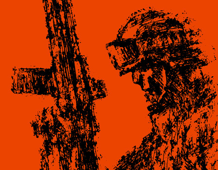 Profile soldier in helmet with gun. Grunge style. Red background color. Vector illustration.