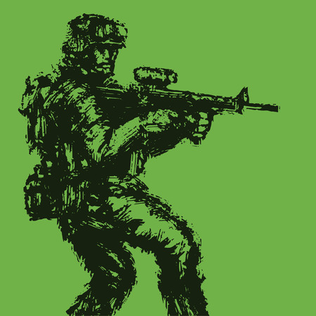 Brave soldier with rifle in action. Military art and sketches. Vector illustration. Vetores
