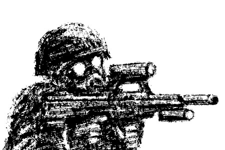 Soldier in helmet and gas mask aiming from assault rifle. Grunge style. Combat operations. Vector illustration. 向量圖像