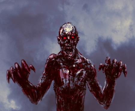 Zombi oscuro ensangrentado extiende sus manos con garras. El género de terror. Foto de archivo