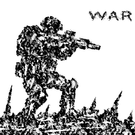 Angry soldier attacking the battlefield. Grunge style. Military art and sketches. Combat operations.