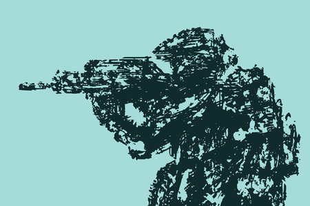 Silhouette of soldier aiming from machine gun. Military art and sketches.