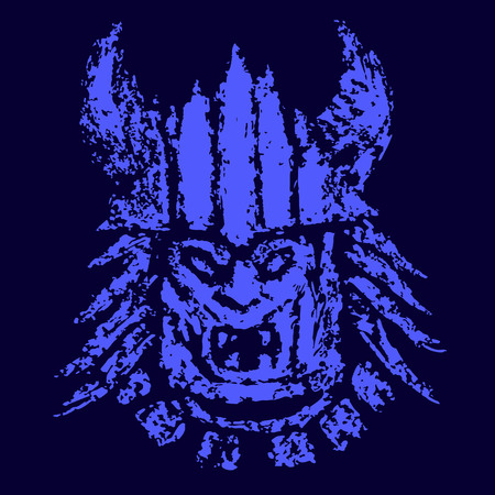 Blue face demon mask. Genre of horror. Stock Photo