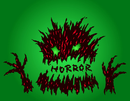 Cute green terrible stub monster. The horror genre.