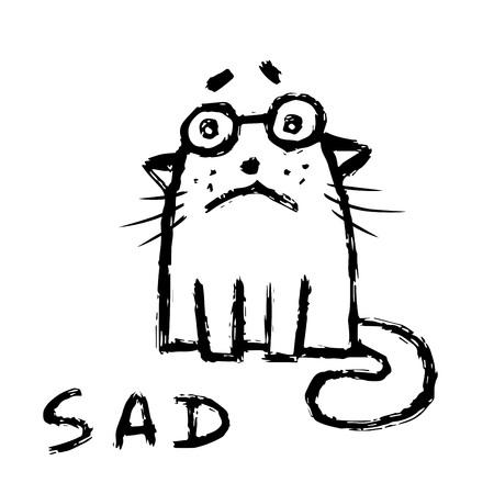 Cartoon cat is sad. Bad day. Cute emoticon character. Vector illustration. Vectores
