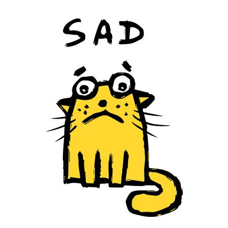 Le chat orange est triste. Mauvais jour. Caractère d'émoticône mignon. Illustration vectorielle. Vecteurs