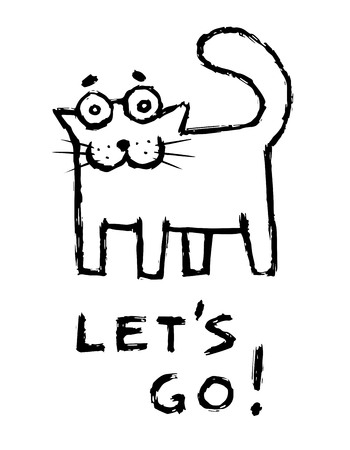 Funny cat says lets go! Cute emoticon character. Vector illustration. Illustration