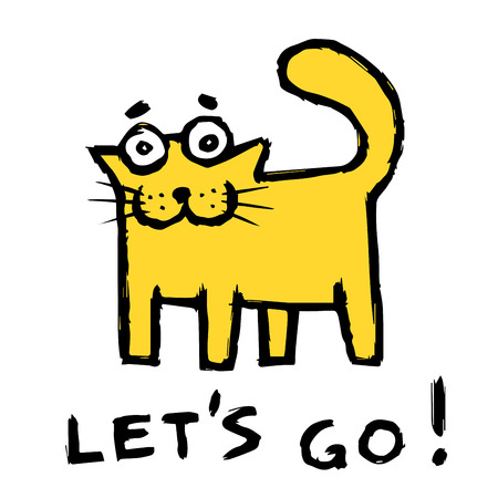 Funny orange cat says lets go! Cute emoticon character. Vector illustration.
