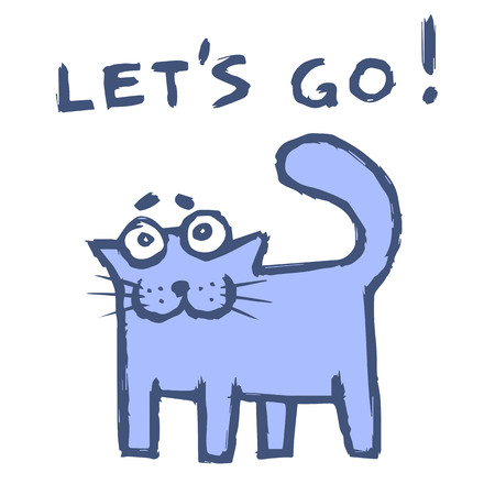 Funny purple cat says lets go! Cute emoticon character. Vector illustration. Illustration