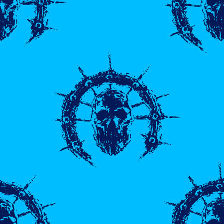 Scary zombie head with spikes. Vector illustration. Genre of horror. Blue color pattern