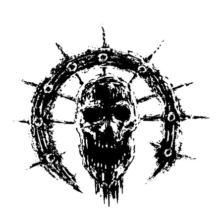 Scary zombie skull in ring with spikes. Genre of horror.