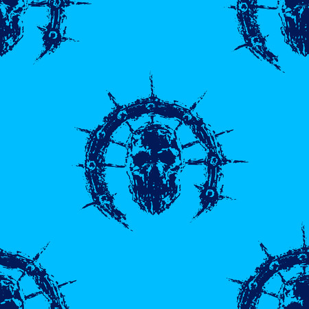 Scary zombie head with spikes. Blue color pattern