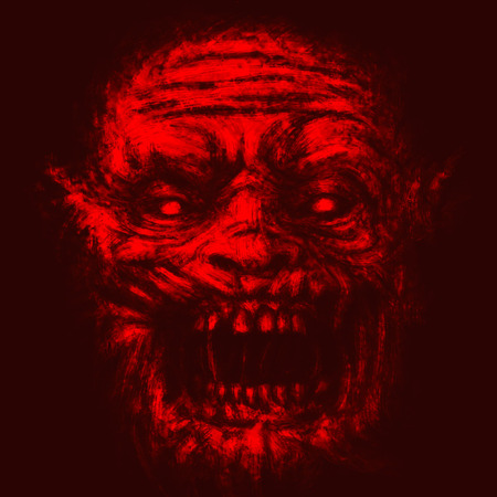 Scary zombie face. Illustration in horror genre. Red background color.
