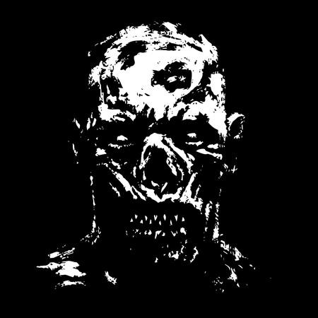 Grim zombie apocalyptic face. Horror genre. Vector illustration.