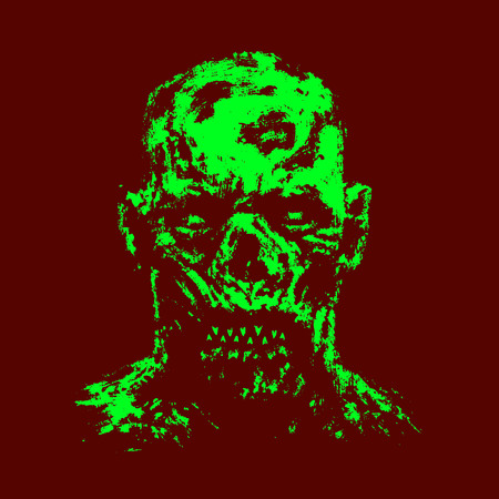 Green zombie apocalyptic face. Horror genre. Red background color. Vector illustration. Illustration