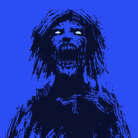 Testa di donna zombie inquietante. Immagine dell'orrore. Illustrazione vettoriale Vettoriali