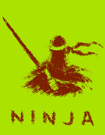 Ninja with sword preparing to attack. Vector illustration. Green background color. 일러스트