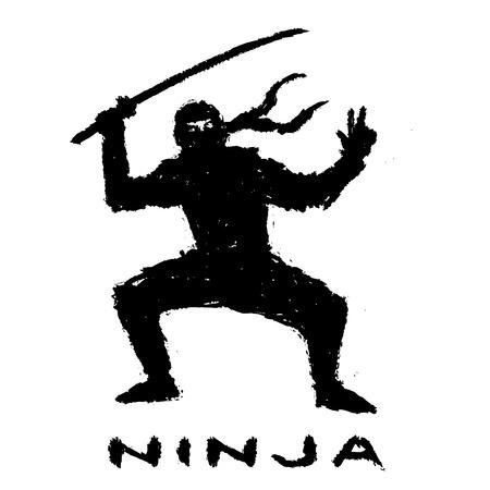 Ninja with sword preparing to attack. Vector illustration. Warrior silhouette.