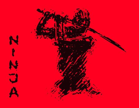 Ninja with sword preparing to attack. Vector illustration. Red background color.