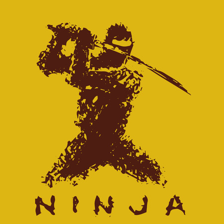 Ninja with sword preparing to attack. Vector illustration. Orange background color. Illustration