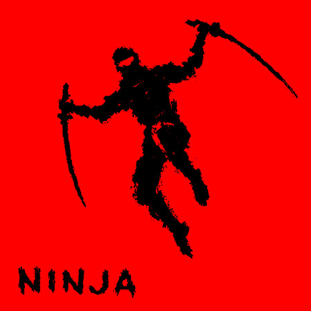 Ninja with sword attacks in a jump. Vector illustration. Warrior silhouette.
