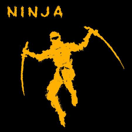 Ninja with sword attacks in a jump. Vector illustration. Black background color. Warrior silhouette. Illustration