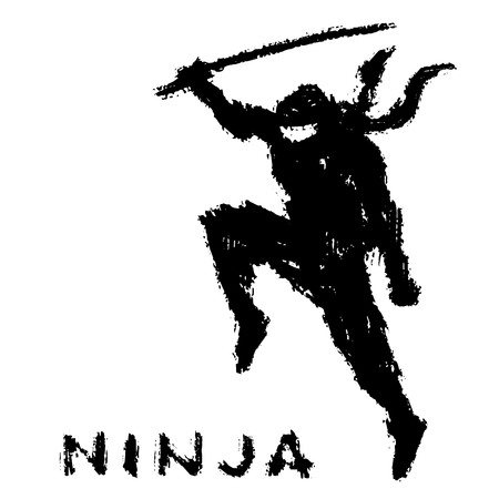 Ninja with sword preparing to attack. Vector illustration. White background color. Warrior silhouette. Vectores