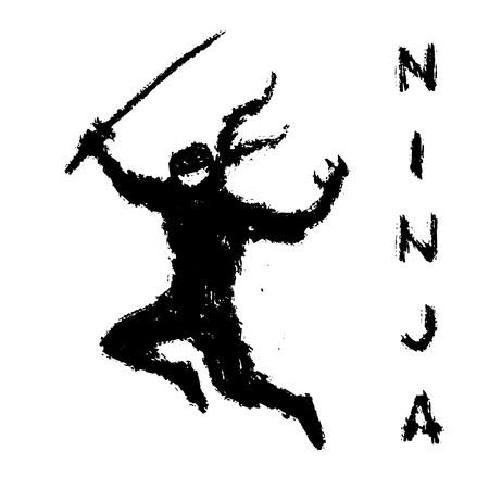 Black ninja with sword preparing to attack. Vector illustration. Warrior silhouette. White background color.