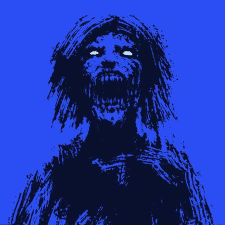 Creepy zombie woman head. Horror image.