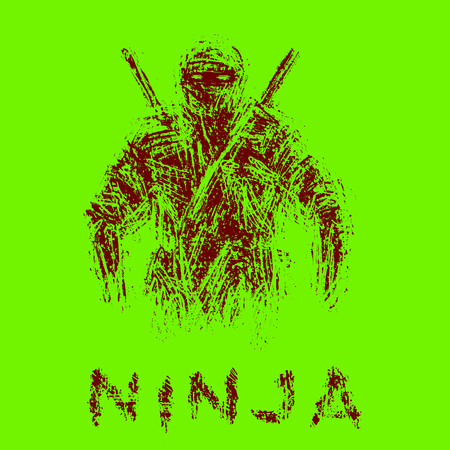 Ninja with swords. Green background color.