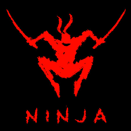 Red ninja with swords attack. Black background color.