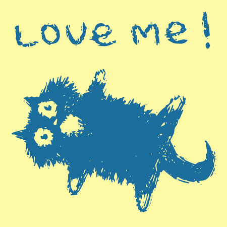 Cute fur cat lies on its back and says love me. Yellow background color. Vector illustration.