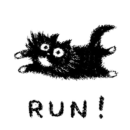 Cute fur running cat. Funny cartoon pet. Vector illustration.