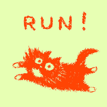 Cute fur running cat. Green color background. Vector illustration.