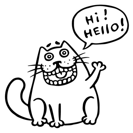 Friendly cat says hello. Speech Bubble.