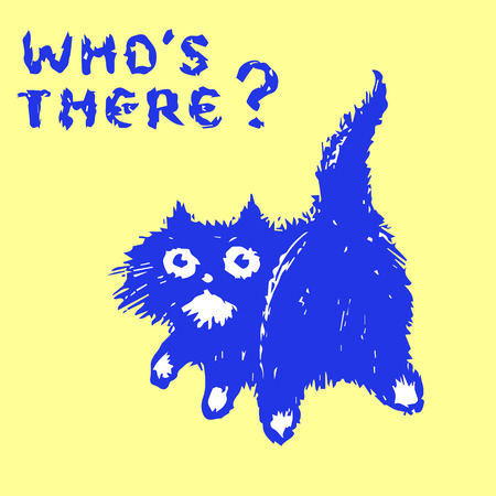 Cute fur cat turned and looked. Who is there? Yellow background color. Vector illustration.