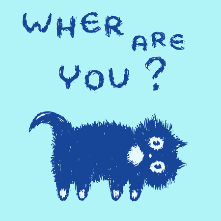 Cute fur cat looking for you. Where are you? Funny cartoon pet. Vector illustration.