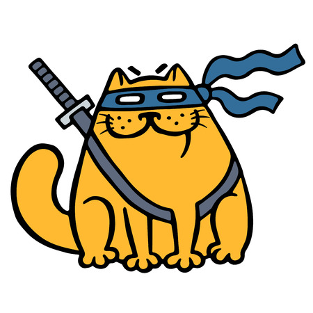 Cute fat ninja cat in a mask and a sword.