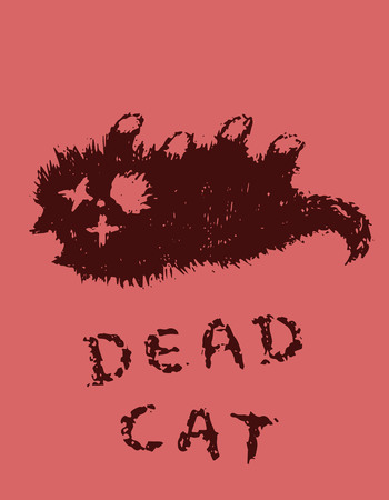 Cute fur the cat is dead. Red background color. Vector illustration.