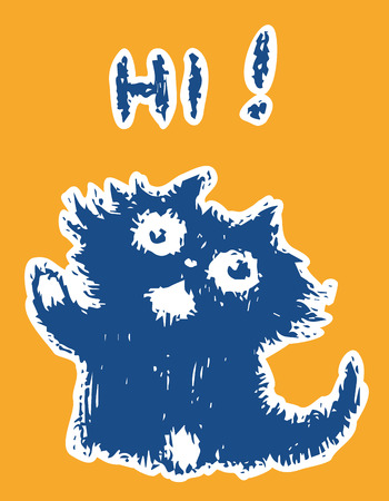 Cute friendly cat says hi. Orange color background. Vector illustration. Çizim