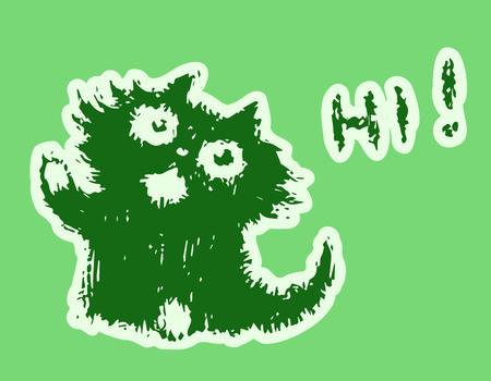 Cute fur friendly cat says hi. Green color background. Vector illustration.