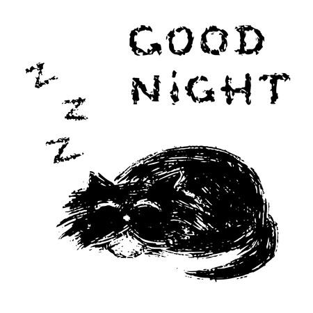 Cute fur cat sleeps and snores. Good night. Funny cartoon pet. Vector illustration. Ilustração