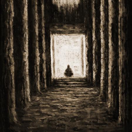 Ancien temple inconnu du destin. Dessin illustration un intérieur de salle avec des colonnes. Banque d'images