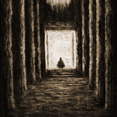 Ancient unknown temple of destiny. Drawing illustration an interior of hall with columns. Banco de Imagens