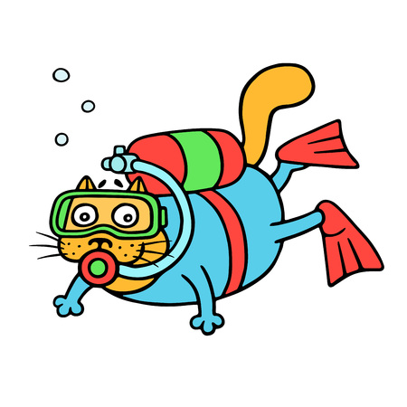 Cartoon cat with aqualung explores the depths of the sea.