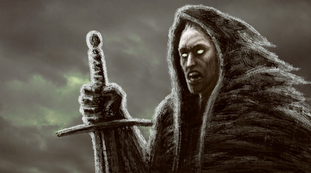 Angry dark monk with sword. Genre of fantasy. Background with clouds.