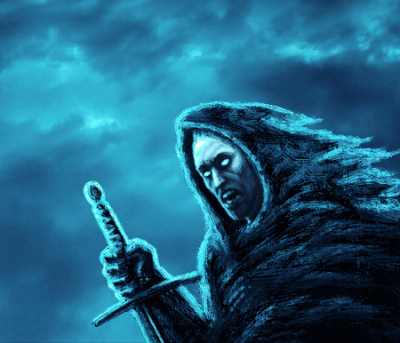 Angry dark warrior with sword. Genre of fantasy. Blue background color. Stock Photo