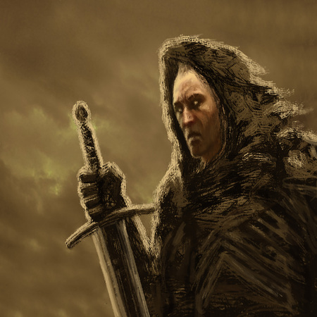 Angry dark knight in hood with sword. Genre of fantasy. Orange color background.