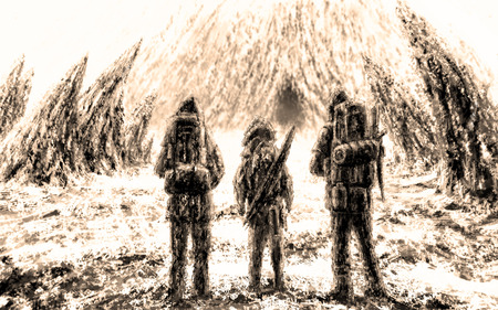 Three men stands at the entrance to the cave. Drawing digital illustration. Sepia background color. Stock Photo