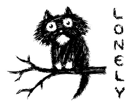 Cute fur lonly cat sits on tree branch. Funny cartoon pet. Vector illustration.
